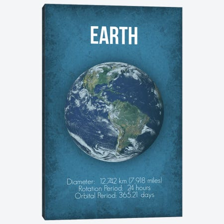 Earth Canvas Print #GYO3} by GetYourNerdOn Canvas Artwork