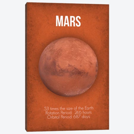 Mars Canvas Print #GYO4} by GetYourNerdOn Canvas Print