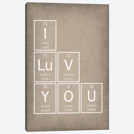 I Luv You Canvas Print #GYO54} by GetYourNerdOn Art Print