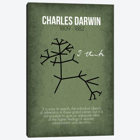Charles Darwin Canvas Print #GYO72} by GetYourNerdOn Canvas Wall Art
