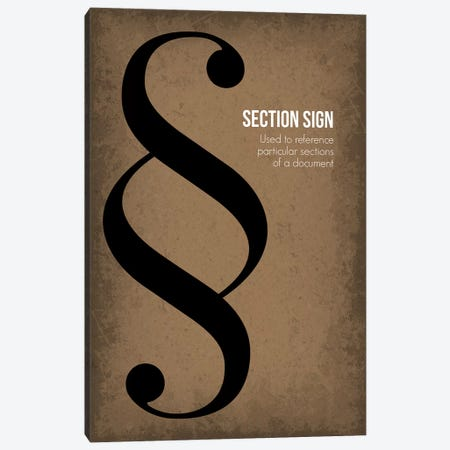 Section Sign Canvas Print #GYO97} by GetYourNerdOn Art Print