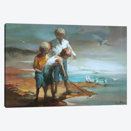 Boys On The Beach Canvas Print #HAE12} by Willem Haenraets Canvas Print