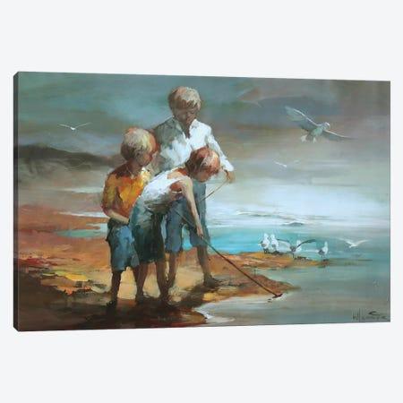 Boys On The Beach Canvas Print #HAE12} by Willem Haenraets Canvas Print