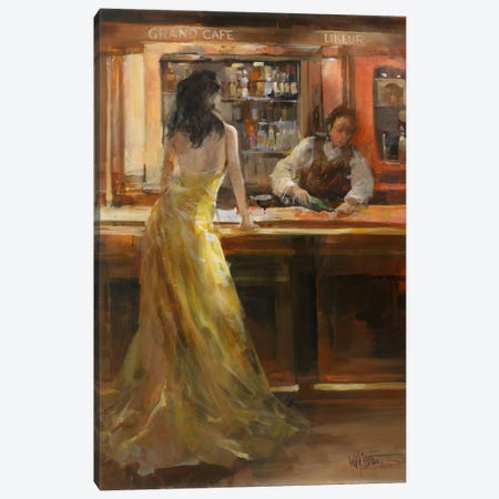 Lady In Grand Cafe Canvas Print #HAE176} by Willem Haenraets Canvas Print