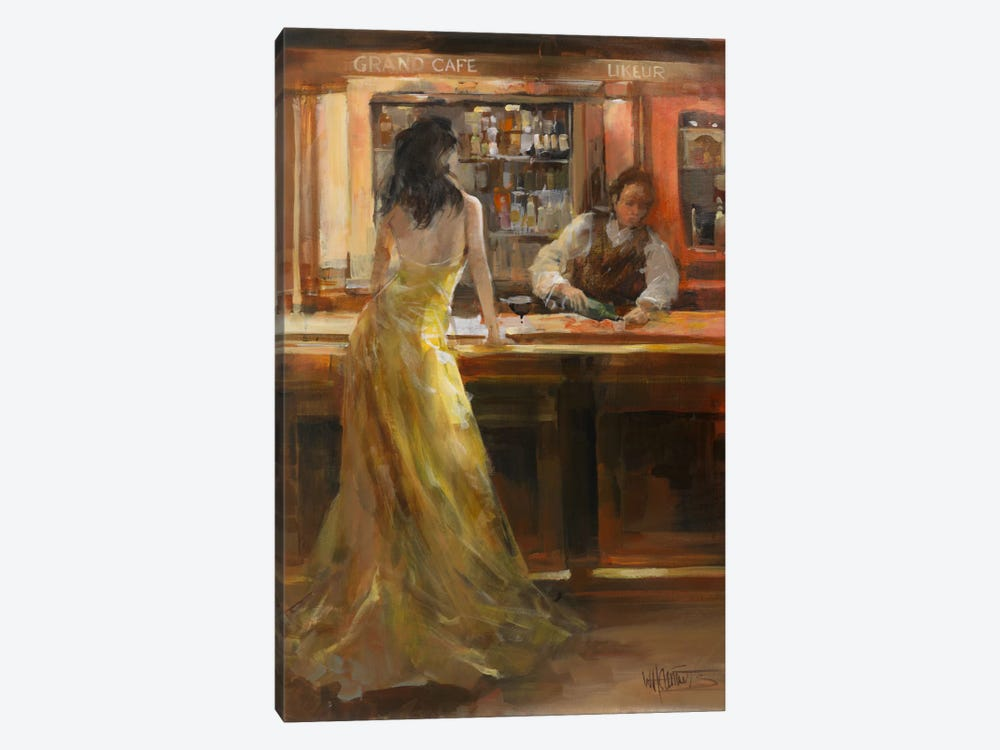 Lady In Grand Cafe by Willem Haenraets 1-piece Canvas Art Print