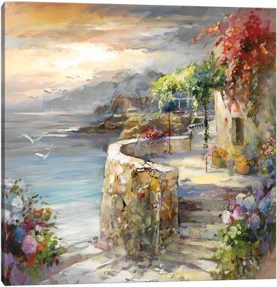 Seagulls And Sunset Canvas Art Print