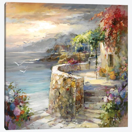 Seagulls And Sunset Canvas Print #HAE223} by Willem Haenraets Canvas Artwork