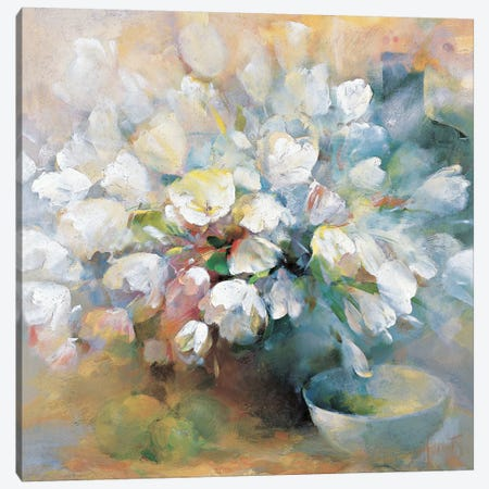 Sparkling White Tulips I Canvas Print #HAE243} by Willem Haenraets Canvas Artwork