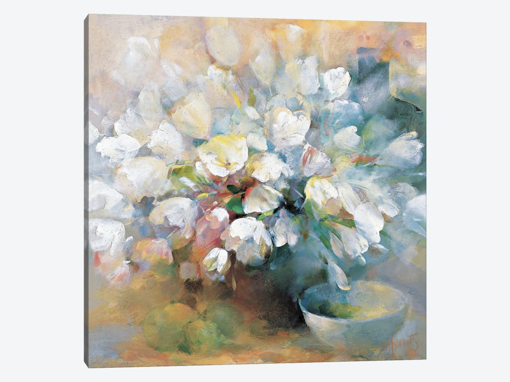 Sparkling White Tulips I by Willem Haenraets 1-piece Canvas Art Print