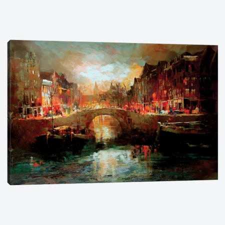 Dutch City Scene Canvas Print #HAE33} by Willem Haenraets Art Print