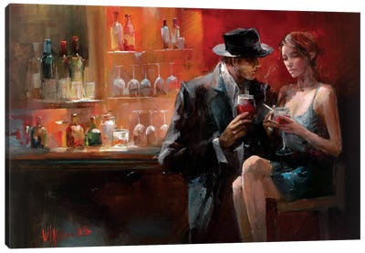 Evening In The Bar I Canvas Art Print