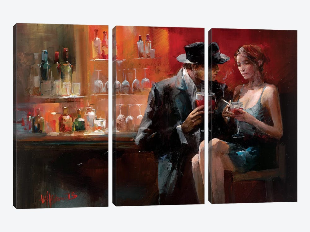 Evening In The Bar I by Willem Haenraets 3-piece Canvas Art Print