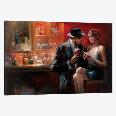 Evening In The Bar I Canvas Print #HAE34} by Willem Haenraets Canvas Wall Art