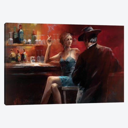 Evening In The Bar II Canvas Print #HAE35} by Willem Haenraets Canvas Art