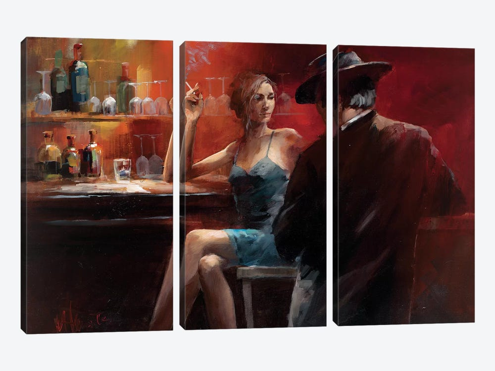 Evening In The Bar II by Willem Haenraets 3-piece Canvas Wall Art