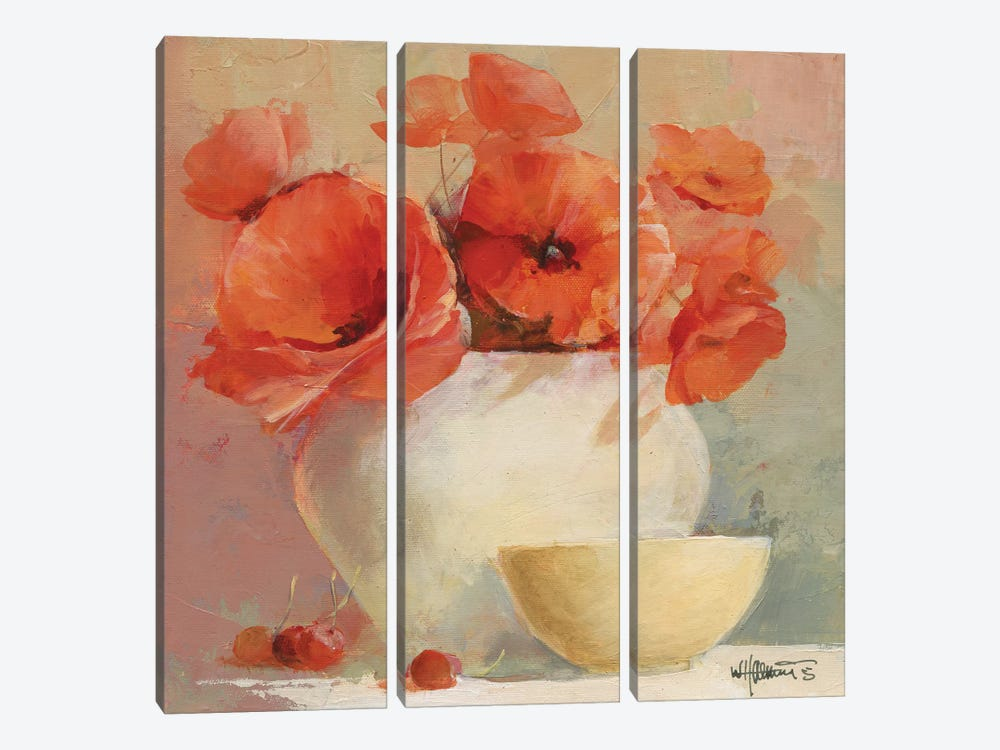 Lovely Poppies II by Willem Haenraets 3-piece Canvas Wall Art