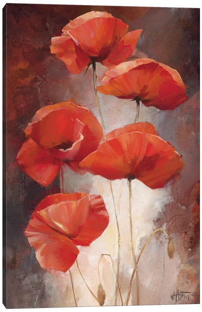 Poppy Bouquet I Canvas Art Print