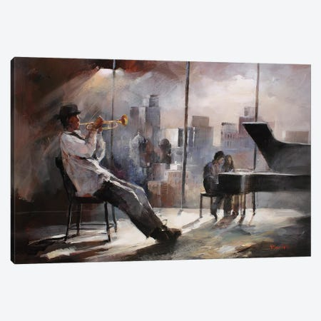 Trumpeter Canvas Print #HAE77} by Willem Haenraets Canvas Art