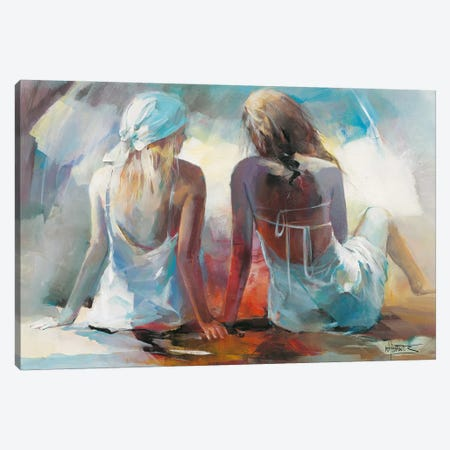 Two Girl Friends I Canvas Print #HAE78} by Willem Haenraets Art Print