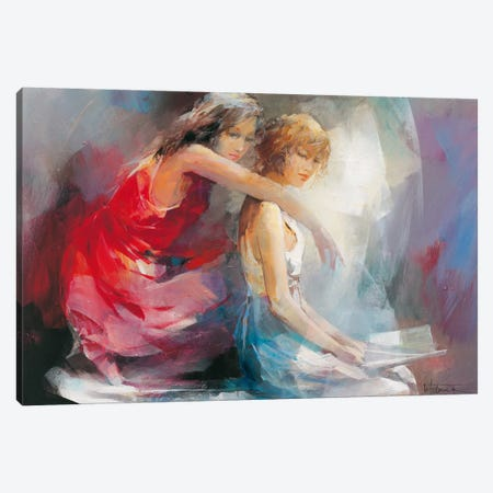 Two Girl Friends II Canvas Print #HAE79} by Willem Haenraets Canvas Art Print