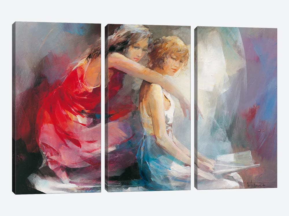 Two Girl Friends II by Willem Haenraets 3-piece Canvas Wall Art