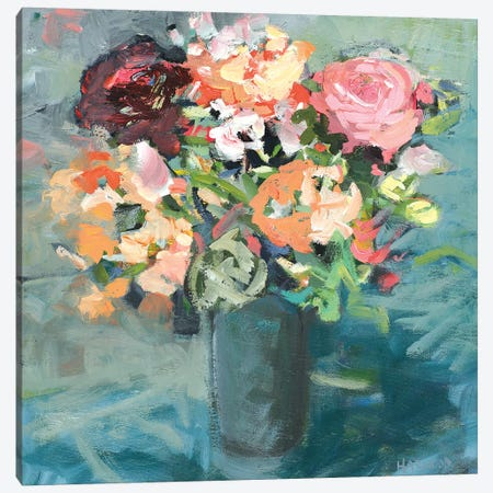 Teal Bouquet Canvas Print #HAR4} by Jennifer Harwood Canvas Art Print