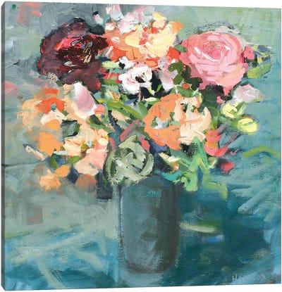 Teal Bouquet Canvas Art Print
