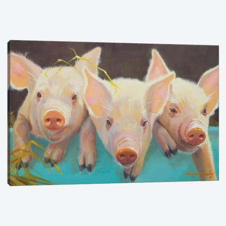 Life As A Pig I Canvas Print #HAW12} by Carolyne Hawley Canvas Print