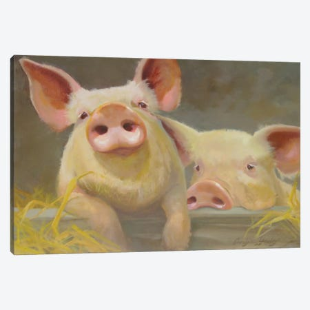 Life As A Pig II Canvas Print #HAW13} by Carolyne Hawley Canvas Print