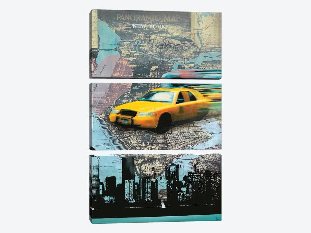 I Love NY by KC Haxton 3-piece Canvas Print