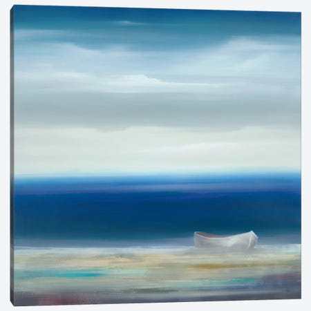 Boat On Shore 3-Piece Canvas #HAX3} by KC Haxton Canvas Art