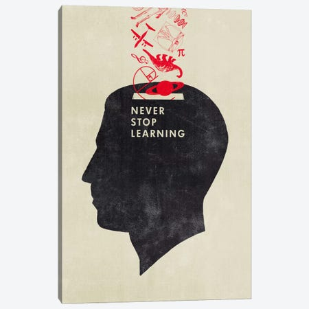 Never Stop Learning Canvas Print #HBE5} by Hannes Beer Canvas Wall Art