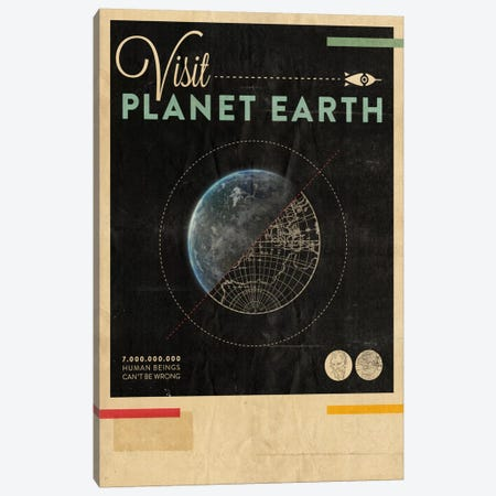 Visit Planet Earth Canvas Print #HBE7} by Hannes Beer Canvas Artwork