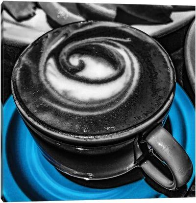 Latte Swirl Blue Canvas Art Print