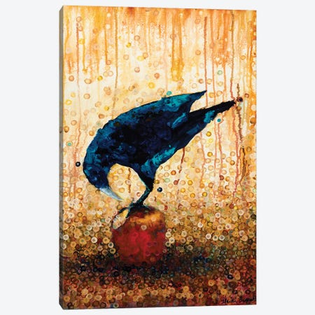 Raven And Apple Canvas Print #HBT21} by Heidi Barnett Art Print