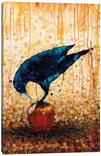 Raven And Apple Canvas Art Print