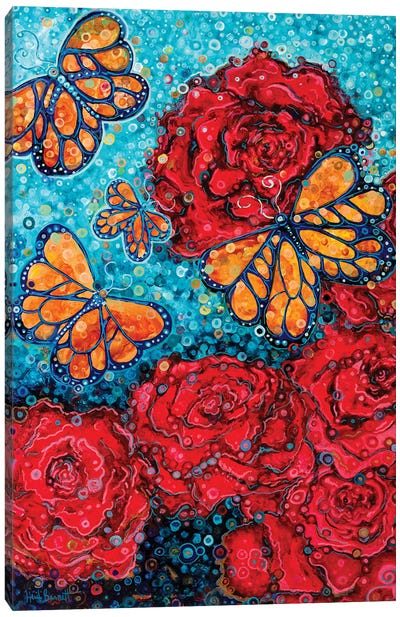 Butterflies And Roses Canvas Art Print