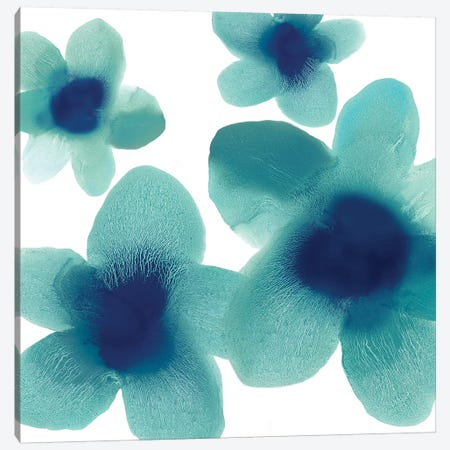 Aqua Blooms I Canvas Print #HCA19} by Hannah Carlson Canvas Art