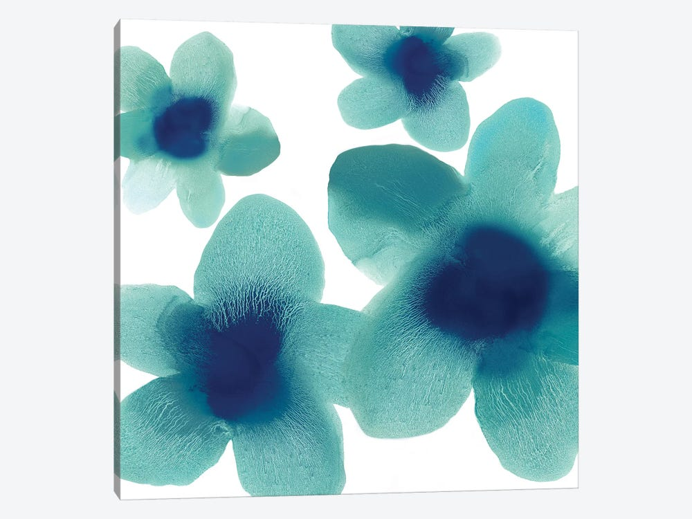 Aqua Blooms I by Hannah Carlson 1-piece Canvas Art Print