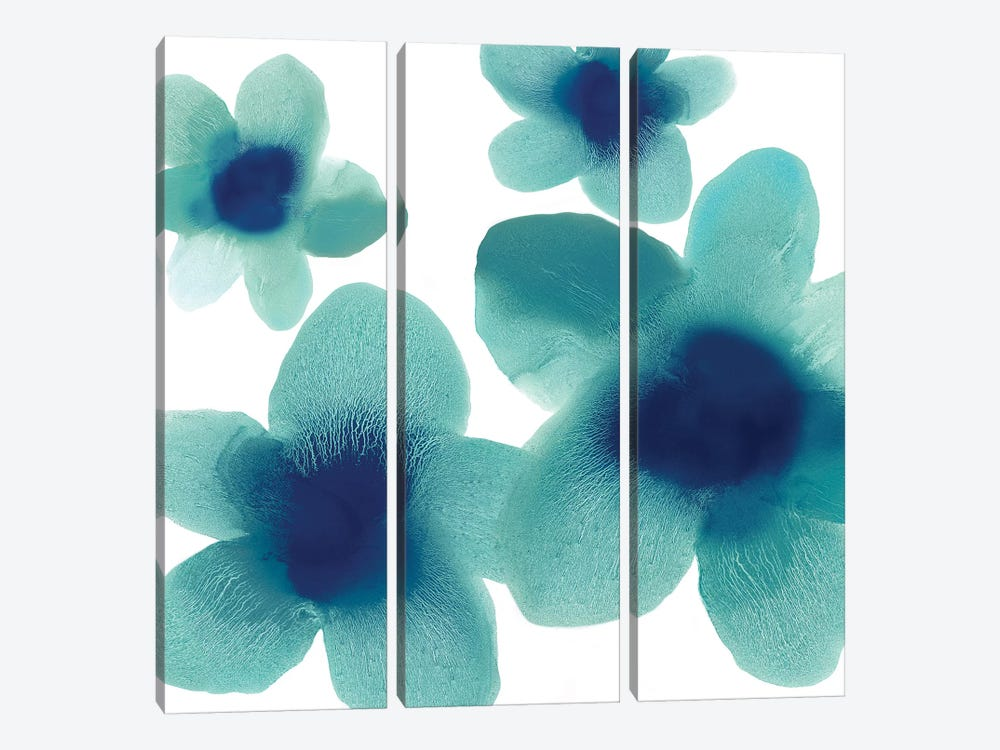 Aqua Blooms I by Hannah Carlson 3-piece Canvas Print