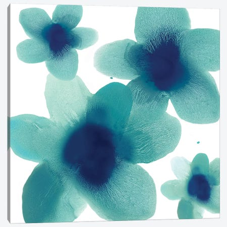 Aqua Blooms II Canvas Print #HCA20} by Hannah Carlson Canvas Art Print