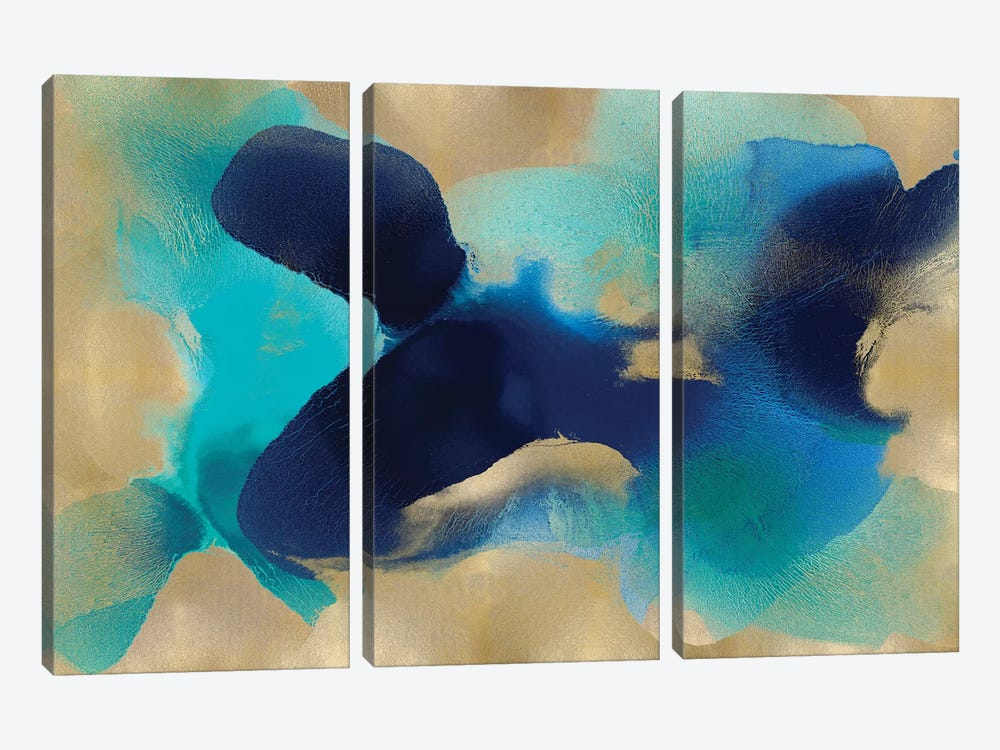 Free Form Blue On Gold by Hannah Carlson 3-piece Canvas Artwork