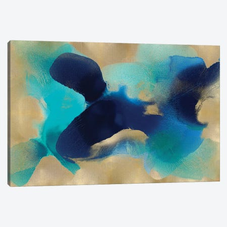 Free Form Blue On Gold Canvas Print #HCA38} by Hannah Carlson Canvas Artwork