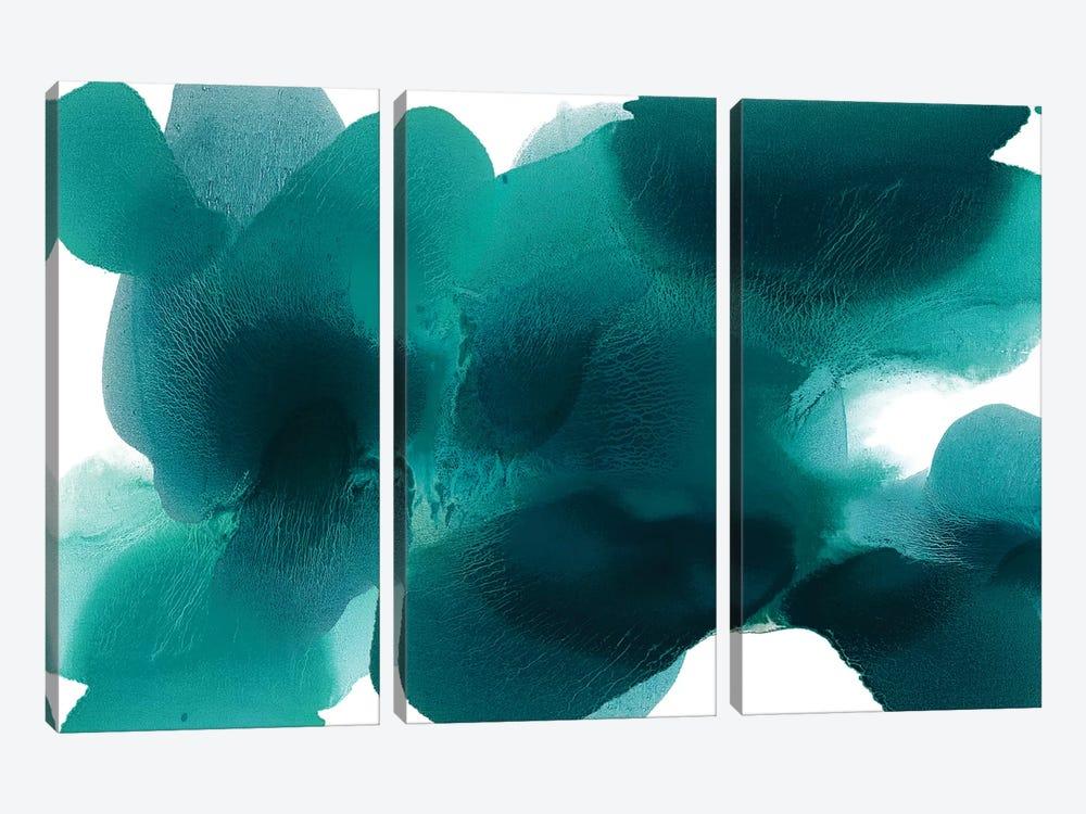 Free Form Cerulean by Hannah Carlson 3-piece Canvas Art Print