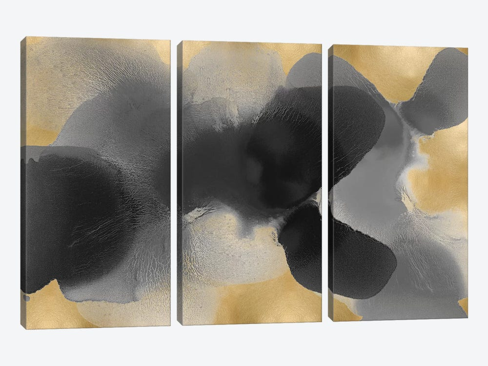 Free Form Gray On Gold I by Hannah Carlson 3-piece Canvas Art Print