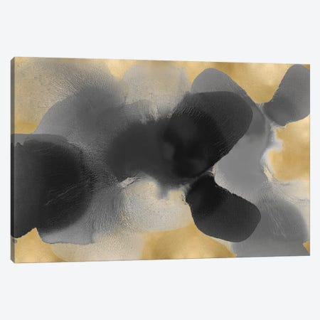 Free Form Gray On Gold I Canvas Print #HCA42} by Hannah Carlson Canvas Print