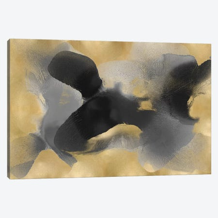Free Form Gray On Gold II Canvas Print #HCA43} by Hannah Carlson Canvas Print