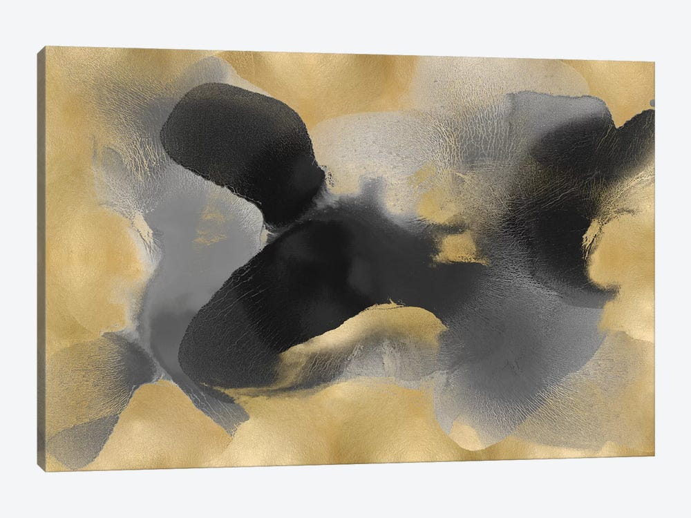 Free Form Gray On Gold II by Hannah Carlson 1-piece Canvas Artwork