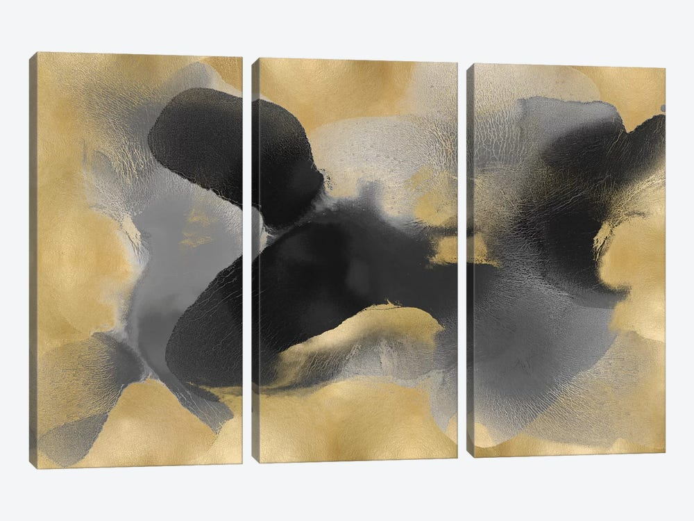 Free Form Gray On Gold II by Hannah Carlson 3-piece Canvas Wall Art