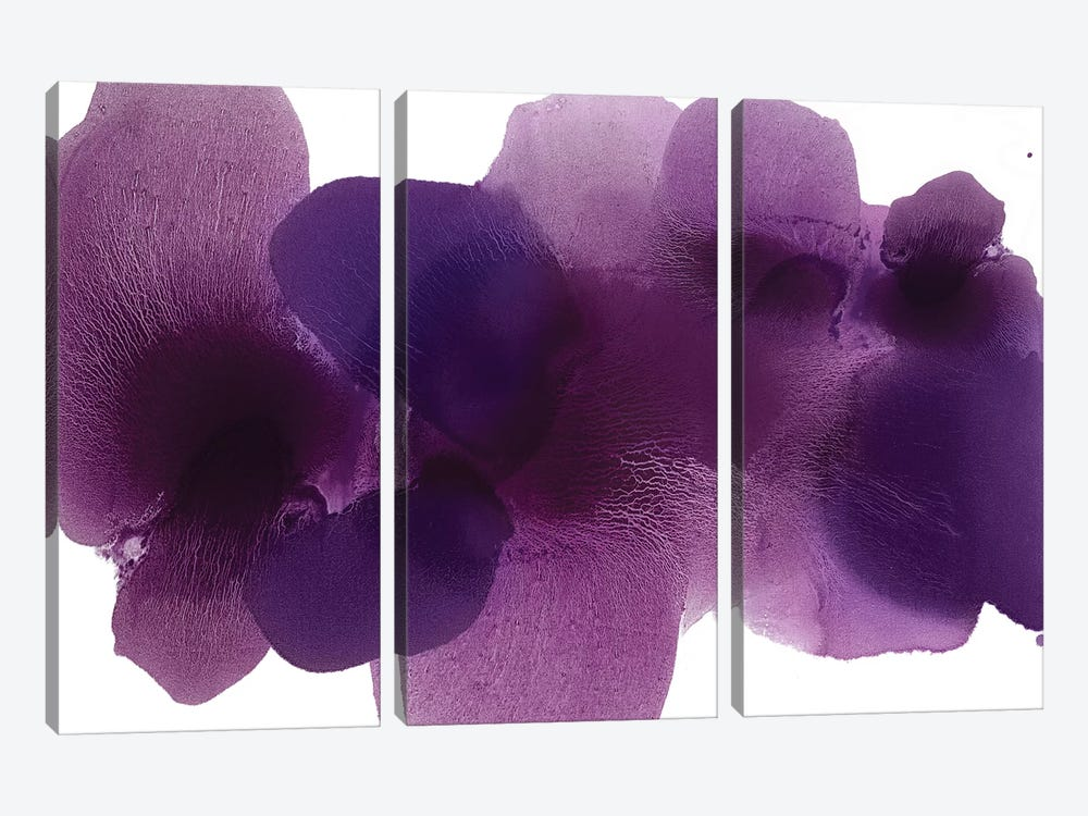 Free Form Purple On White by Hannah Carlson 3-piece Canvas Wall Art